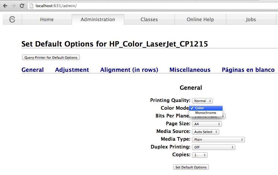 CUPS web interface - Printer - Default options - colour
