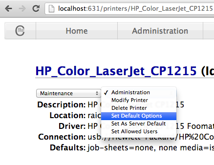 CUPS web interface - Printer - set default options