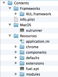 Contenido de la aplicación basada en XUL