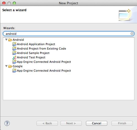 Asistentes Eclipse proporcionados por plugin ADT