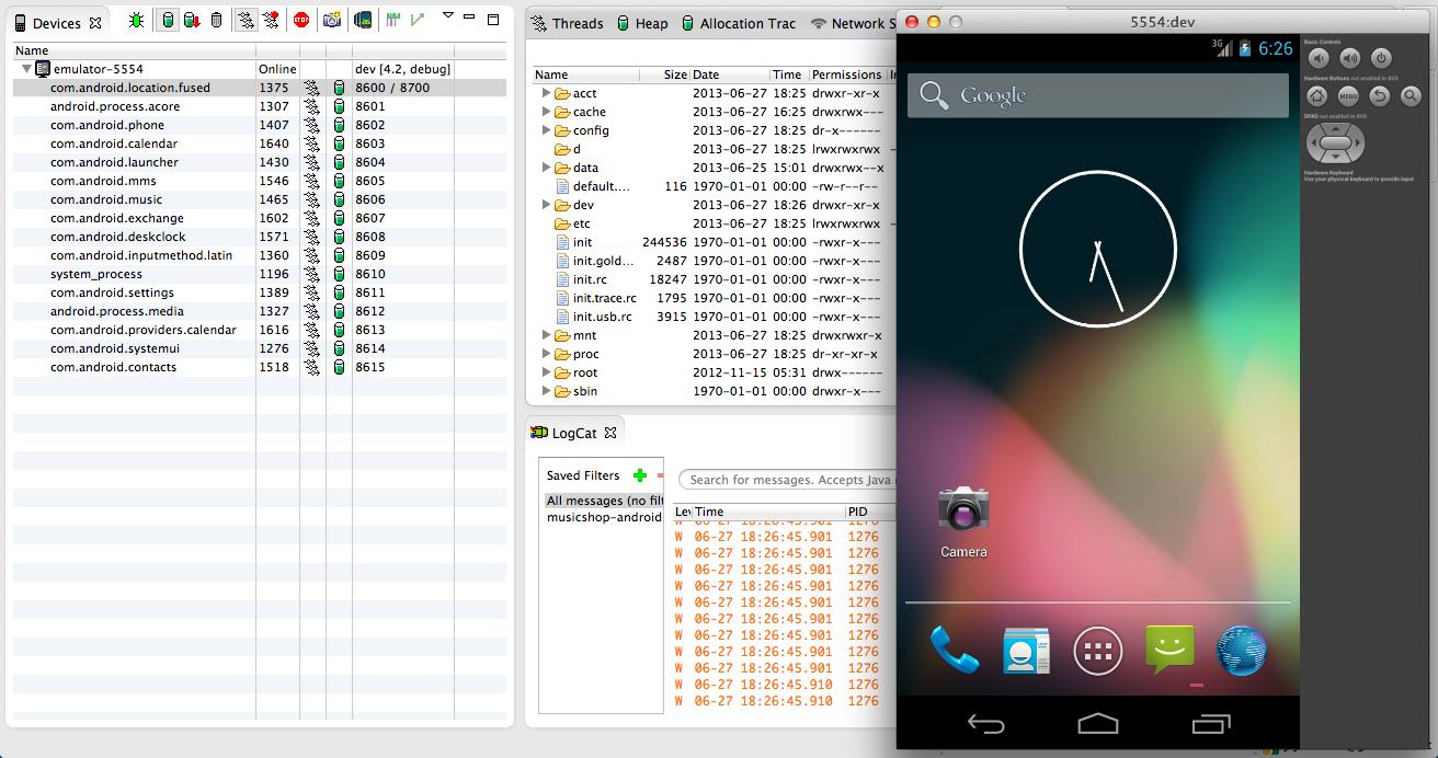 Emulador Android lanzado desde Eclipse