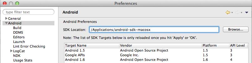 Configuración SDK Android en plugin Eclipse